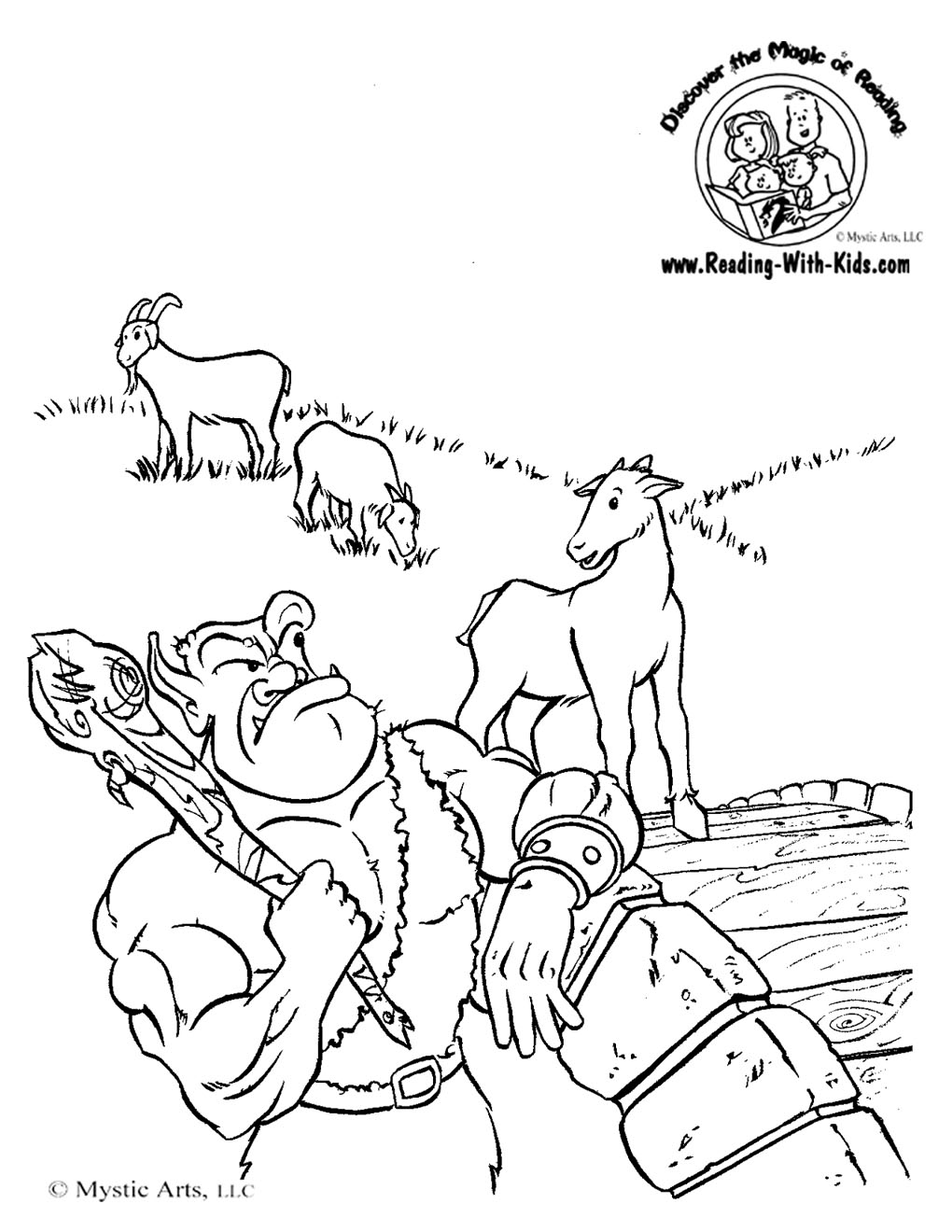 Free Coloring Pages Of Billy Goat Gruff Troll Three Billy Goats Gruff Coloring Pages